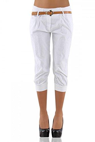 DANAEST Damen Chino Capri Hose inkl. Gürtel ( 276 ), Grösse:S / 36;Farbe:Weiß (Capri-stretch-hose)