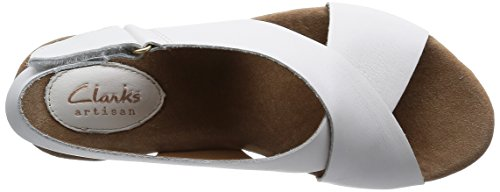Clarks Caslynn Shae, Sandales Bout ouvert femme Blanc (White Leather)