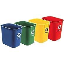 Acrimet Papelera Reciclaje Tamaño 13QT / 12L (4 Unidades) (Azul, Verde,