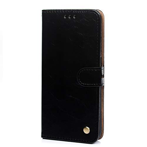 Mlorras Hülle für Huawei Honor 8X, Einfarbiger Vorne schnallen PU Leder Handyhülle Klappbares Brieftasche Schutzhülle Wallet Case Cover mit Integrierten Kartensteckplätzen Schwarz -