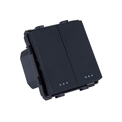 Interruptor Doble Conmutado Negro efectoLED