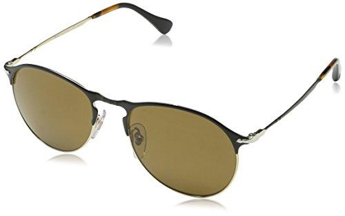 Persol Herren 7649 Sonnenbrille, Schwarz (Black/Gold/Polarbrown), 56