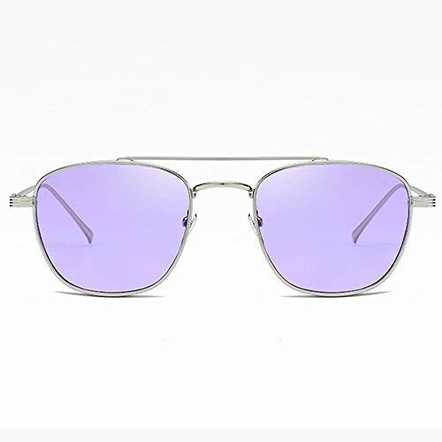 Yiph-Sunglass Sonnenbrillen Mode Sonnenbrille Farbe Objektiv Metallrahmen polarisierte Frauen Männer Sonnenbrillen (Farbe : Lila, Größe : Casual Size)