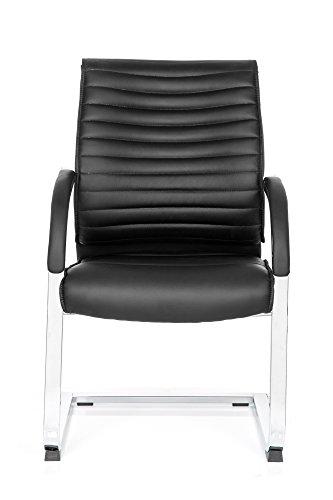 Besucherstuhl Schwing-Stuhl VISITER CL120, ergonomischer Schreibtisch-Stuhl mit Armlehne, Freischwinger-Sessel zum Arbeiten & Relaxen im Büro, Home-Office, Kunst-Leder schwarz MyBuero 725003