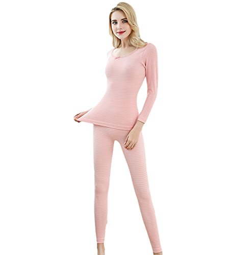 YAANCUN Donna Elasticità Design A Strisce Set Termico Casual Slim Fit Manica Lunga Top & Pantaloni Come l'immagine