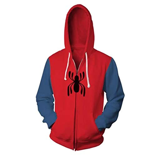 Captain America Kostüm Boy - Okeak Marvel Spiderman Hoodies 3D Print Kapuzenjacke Cosplay Anime Sweatshirt Halloween Kostüm Sport Langarm Casual Hoodie Mantel,Rot,XXL