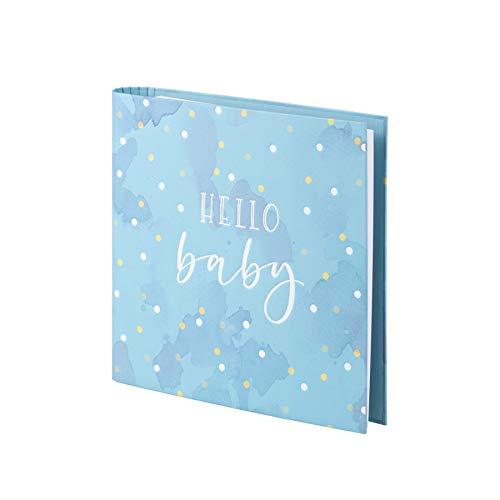 Rössler 13161437008 - Fotoringbuch mit Heißfolienprägung 'Hello Baby', 2-Ring-Mechanik, 50 Seiten, Boy-Edition -