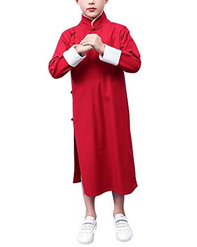 Herren Jungen Casual Chinese Traditional Langarm Tang Shirt Diagonaler Kragen Roben Tops Burgunderrot 140cm
