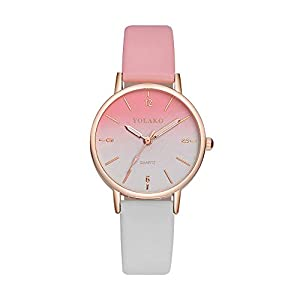 Damen Uhren Beiläufig Bunt Regenbogen Quarz Lederband Neue Armbanduhr Analoge Armbanduhr für Frau Groveerble