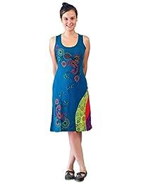 Damen ärmelloses Kleid mit bunten Blumen-Stickerei