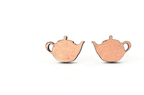 Handgemachte und personalisierbare Teekannen Ohrstecker aus Holz