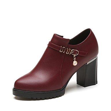 Rtry Femmes Chaussures Pu Automne La Mode Bottes Bottes Chunky Talon Bout Rond Zipper Pom-pom Pour Casual Bourgogne Rouge Et Noir Us8 / Eu39 / Uk6 / Cn39
