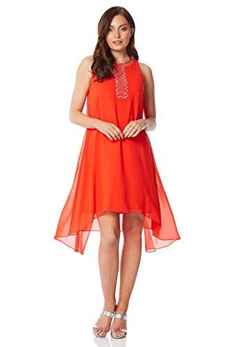 n Swing-Kleid mit verzierter Überlage - Damen Fließendes, asymmetrisches Kleid, abends, Partys, besondere Anlässe, Urlaub, Hochzeit, Kreuzfahrt - Orange - Größe 40 ()