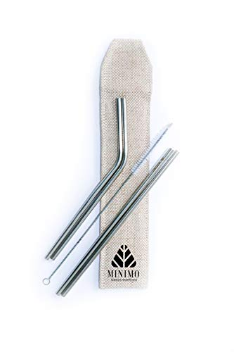 Minimo Reusable Stainless Steel Metal Straws - Pack of 4 (Straight & Bent) with Brush and Jute Pouch Cutlery
