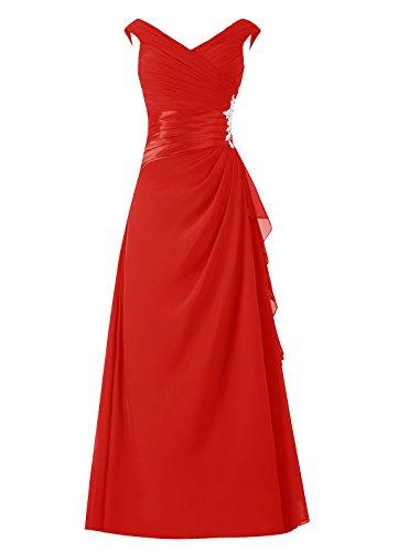 Dresstells, robe longue de mère de mariée, robe de soirée sans manches col en V, robe de demoiselle d'honneur Rouge