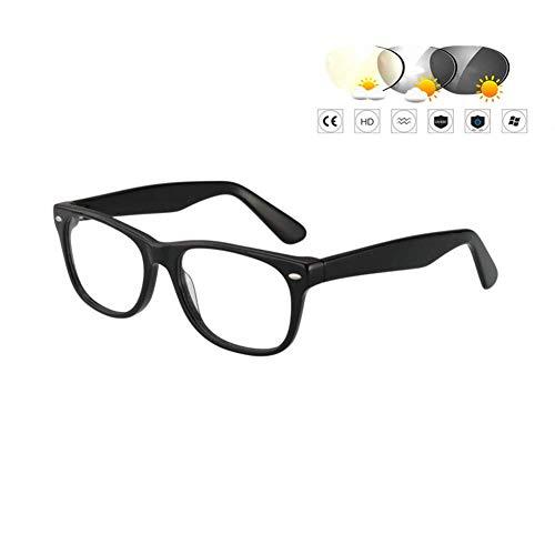 HQMGLASSES Intelligente farbwechselnde Lesebrille, Ferne und nahe Mehrfokus-Doppellicht-Lesebrille/Acetat-Box/transparente dünne Linse/Blendschutz 1,0 bis 3,0,02,+250