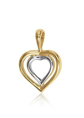 MyGold Herz-Anhänger (ohne Kette) Gelbgold Weißgold Weissgold 585 Gold (14 Karat) 19mm x 13mm massiv innen offen Herzform Goldherz Kettenanhänger Halskette Herzkette Parwana V0003677