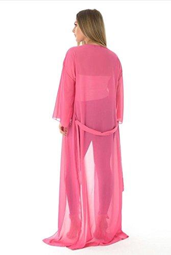 Damen Maxi Chiffon Gürtel lange Ärmel fließenden Strickjacke Plus Size Cerise