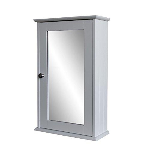 Multistore 2002 Spiegelschrank 53x34x15cm Hängeschrank Medizinschrank Wandschrank für Bad und Flur - Badezimmerschrank Holzschrank mit Spiegeltür MDF Weiß