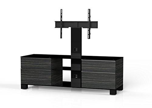Sonorous MD 8340/B hblk-Meubles AMZ Téléviseur avec Verre Noir (Aluminium Brillant, Corps décor de Bois) Noir