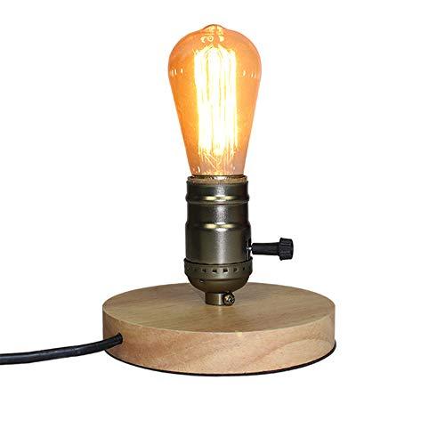 QueenYA Tischlampe, Nachtlicht, Industrieller Stil Holz Aluminium Retro Dachboden Schreibtisch Edison Glühbirne 110 V / 220 V Dimmbare Nachtlicht Büro Licht Schlafzimmer/Wohnzimmer/Cafe Wald -