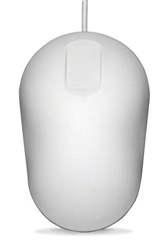 PUREKEYS desinfizierbare Hygienemaus, USB-Kabel - Farbe:Weiss   abwischbar, desinfizierbar   kompatibel zu Win 8-10, Mac OS, Linux   für gängige Desinfektionsmittel geeignet (Alkohol, Ammoniak, H2O2)