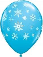 5 Ballons Schneeflocken blau, Qualatex, 11