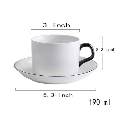 Tasses à café,et Soucoupe Mug en céramique Simple Bord Noir Blanc Pur domestiques Thé de Bureau Cup Tasse Espresso-Blanc 190ml