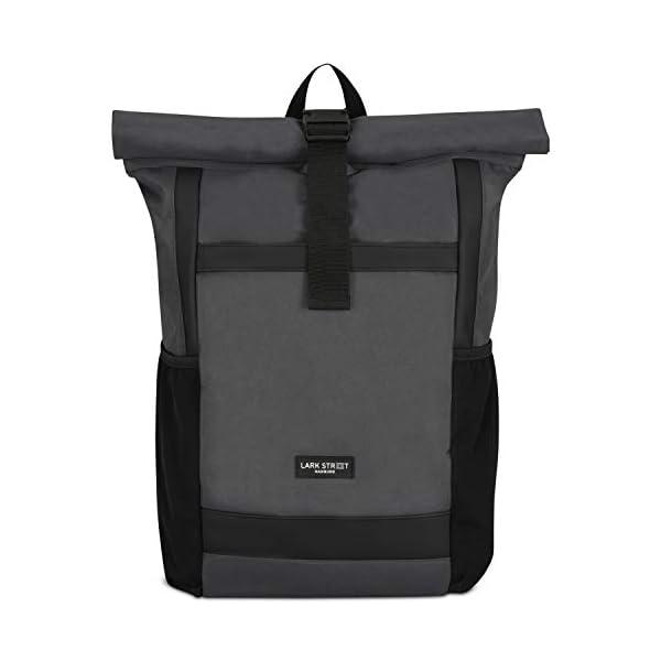 31TxOEdCEVL. SS600  - Rolltop Rucksack Damen & Herren - LARK STREET No 2 Tagesrucksack aus recycelten PET-Flaschen - Backpack für Freizeit, Uni & Schule - Schulrucksack Teenager Wasserabweisend & Laptopfach 15,6 Zoll