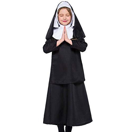Kostüm Nonne Kind - QWE Halloween Kostüm Kind Nonne Kostüm Cosplay Christus Mädchen Kostüm Schulkostüm