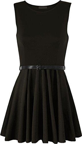 WearAll - Damen ärmellos Kurz Kleid mit Gürtel - Schwarz - 36-38 (Gürtel Wesentliche)