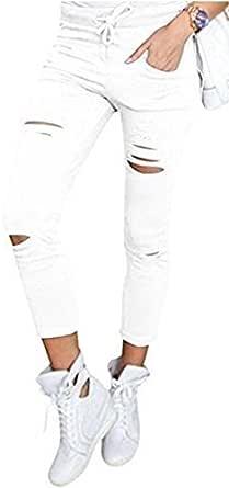 Live It Style It Pantaloni jeggings skinny da donna elasticizzati, strappati