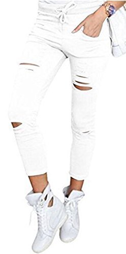 Live it style it pantaloni jeggings skinny da donna elasticizzati, strappati white x-large