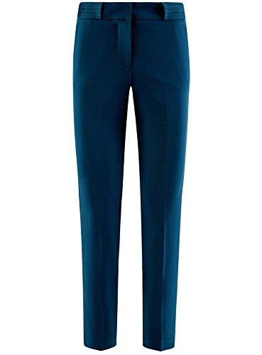 oodji Collection Damen Enge Hose mit Bügelfalten Blau (7901N)