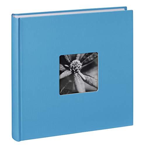 Hama Jumbo Fotoalbum Fine Art, XXL Album im Format 30x30, 100 weiße Seiten für bis zu 400 Fotos im Bildformat 10x15, Fotoalbum zum selbstgestalten, Fotobuch mit Ausschnitt für Bildeinschub, hellblau