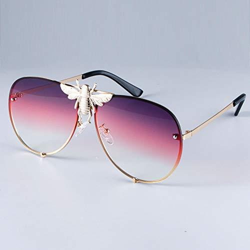 TIANKON Metall Big Bee Dekoration Pilot Sonnenbrille Verlaufsgläser Uv400 Retro Männer Frauen Shades,Farbverlauf lilad