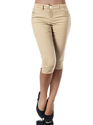 Diva-Jeans N956 Damen Caprihose Treggings Leggings Stoffhose Sommerhose Knielang 3/4 Capri, Größen:XL, Farben:Beige