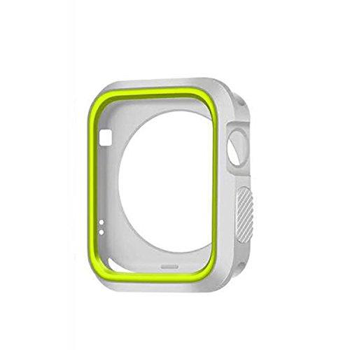 Apple Watch Hülle 38mm/42mm Schutzhülle Ultra Slim Silikon Protective Überzug Schutzhülle Tasche Case für Apple Watch Case Series 1 2 3 (Grün+Silber, 38mm) (Grünes Apple Kleid)