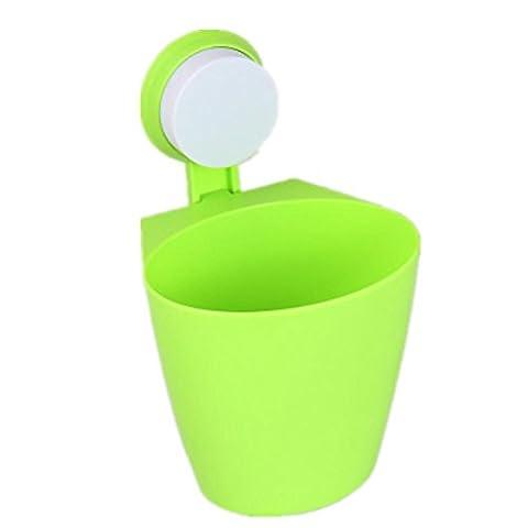 LIYONGDONG® Mülleimer Wand hängen Lagerfässer Regal Sucker Hängen Mülleimer Küche Badezimmer Kunststoff Trümmer Eimer (3 geladen) green