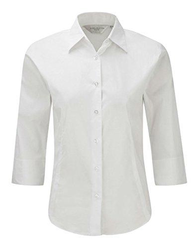 Russell Damen 3/4-Ärmel, Shirt Bluse, pflegeleicht, eng anliegend Weiß - Weiß