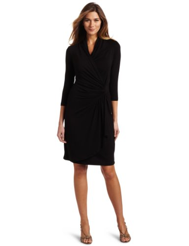 karen-kane-womens-3-4-sleeve-cascade-wrap-dress-black-medium