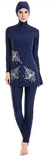 TianMai Heiße Neue Muslimische Bademode Islamischen Full Cover Frauen Kurzarm bescheidene Badeanzug Beachwear Burkini Lady Rash Schutz Surfen Anzug Kostüm (Blue-6, Int'l L (UK-Size - Women's Elf Kostüm