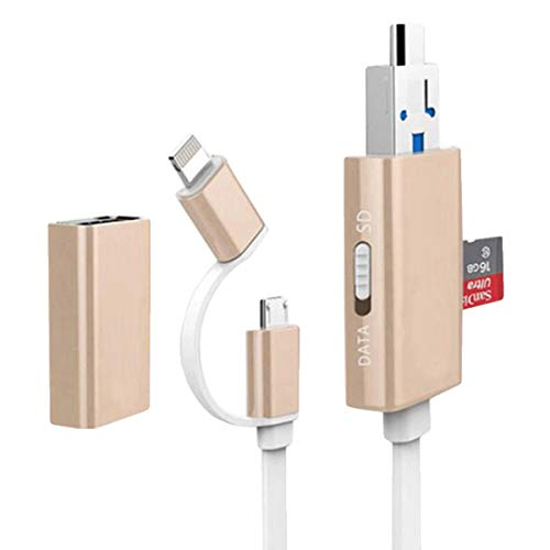 Julyfox Multifunktional Lighting kabel USB3.0 Micro USB Lighting Datenübertragung Aufladung USB3.0 Kartenleser 128GB TF-Karte unterstützen Für iPhone Android MAC PC Tastatur Drucker Maus(golden) -