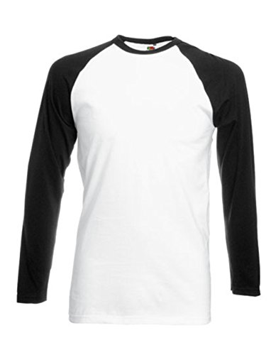 Fruit of the Loom Baseball Langarm ( Longsleeve ) T-Shirt S M L XL XXL Weiss - Schwarz