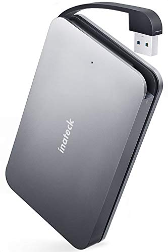 Inateck Festplattengehäuse USB 3.0 zu SATA Aluminium Adapter mit verstecktem USB Kabel für 9,5 mm/7 mm 2,5 Zoll SATA HDD/SSD, Unterstützt UASP, Werkzeugfrei (SA01001)