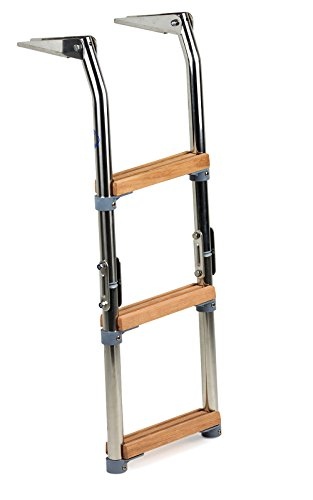wellenshop Bootsleiter Badeleiter 3-stufig Edelstahl Holz-Stufen klappbar Klappleiter Boot Leiter
