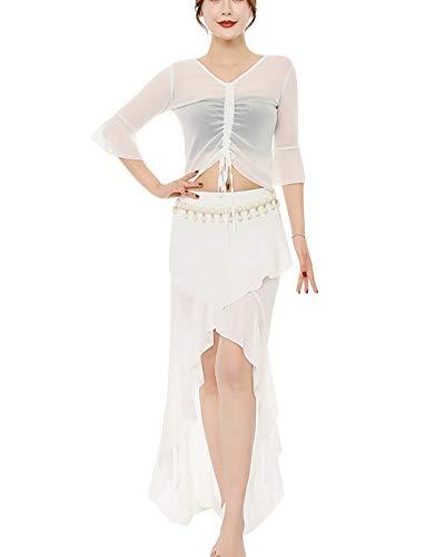 V-Ausschnitt Tops Unregelmäßiger Schlitz Rock Set Tänzerin Kostüm Für Damen Tops Röcke Anzug Tanzkostüme Weiß - Weiß Profi Bauchtanz Kostüm