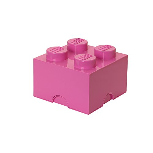 LEGO Brick 4 Knobs Stackable Storage Box, Bright (Pink), 5.7 Litre