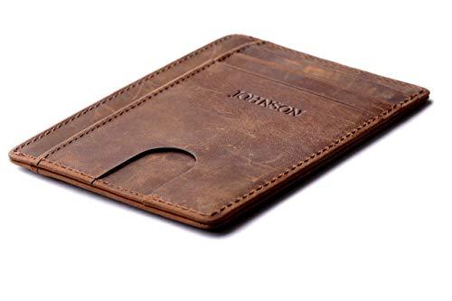 JOHNSON Premium - Slim Wallet RFID Schutz Kleiner Geldbeutel Herren Mini Geldbörse dünnes Portemonnaie Männer Brieftasche Portmonee Kreditkartenetui Braun - Brieftasche Braun Herren Portemonnaies