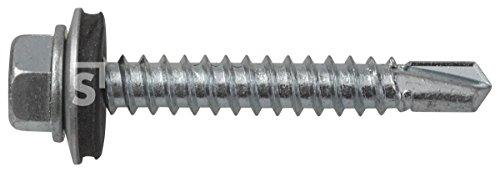 Preisvergleich Produktbild Schössmetall Sechskantbohrschraubenmit Dichtscheibe DIN 7504-K 5, 5 x 38 mm Stahl verzinkt SW8 100 Stück